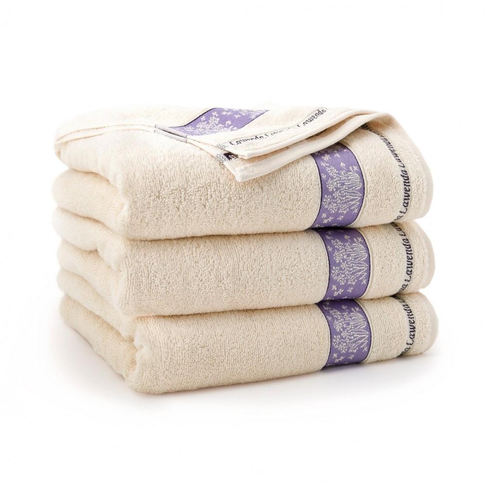 Ręcznik bawełniany beżowy Lawenda Porcelanowy