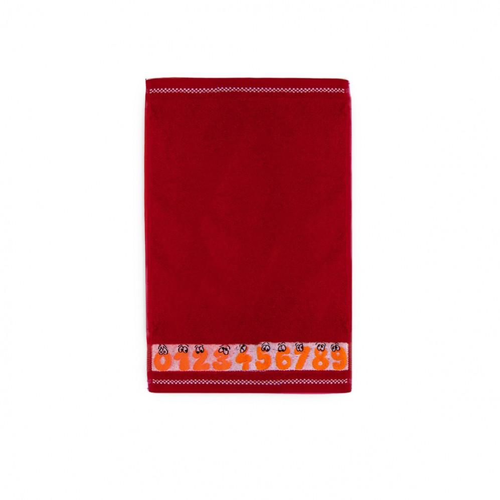 Ręcznik dla dzieci Cyferki Czerwony