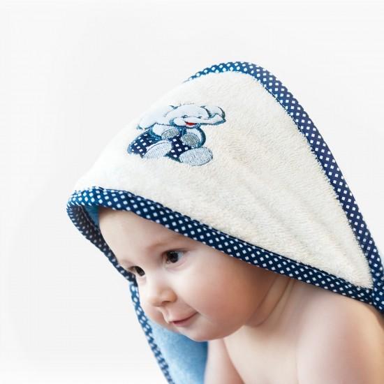 Ręcznik bawełniany z kapturkiem Słoń Niebieski