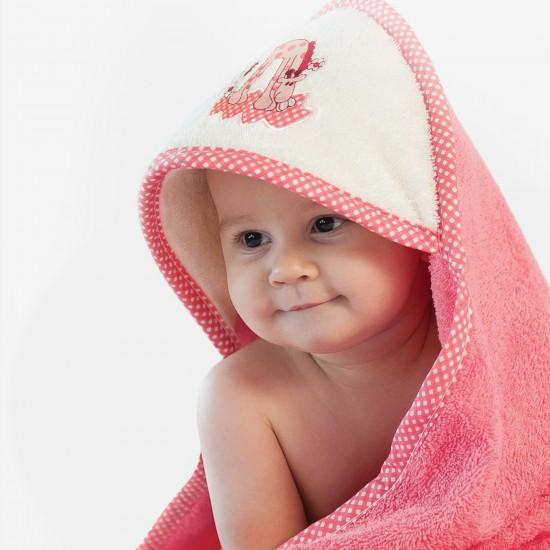 Ręcznik bawełniany z kapturkiem Żyrafa Koralowy
