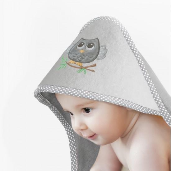 Ręcznik z kapturkiem Sowa Platyna