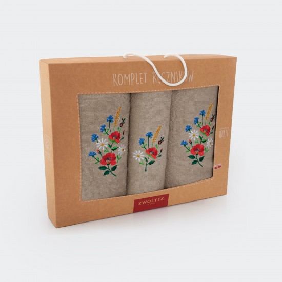 Komplet ręczników bawełnianych Maki Lniany
