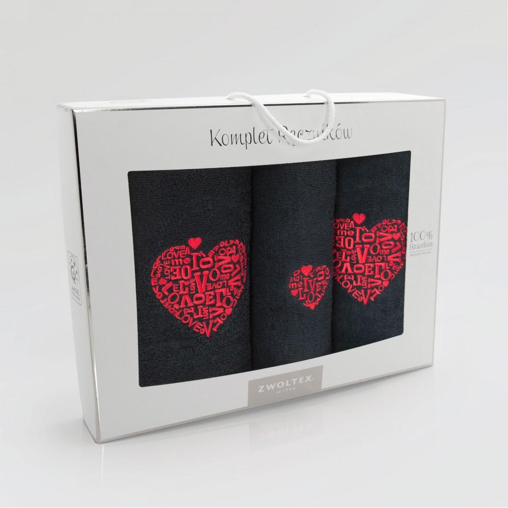 Komplet ręczników bawełnianych Love Czarny