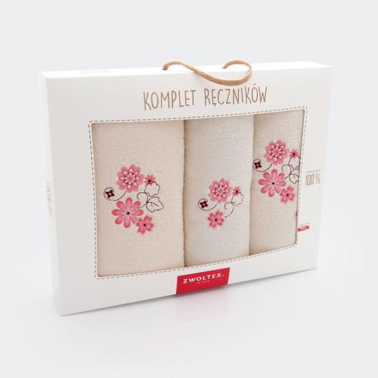 Komplet ręczników bawełnianych Kwiat porcelanowy Ecru