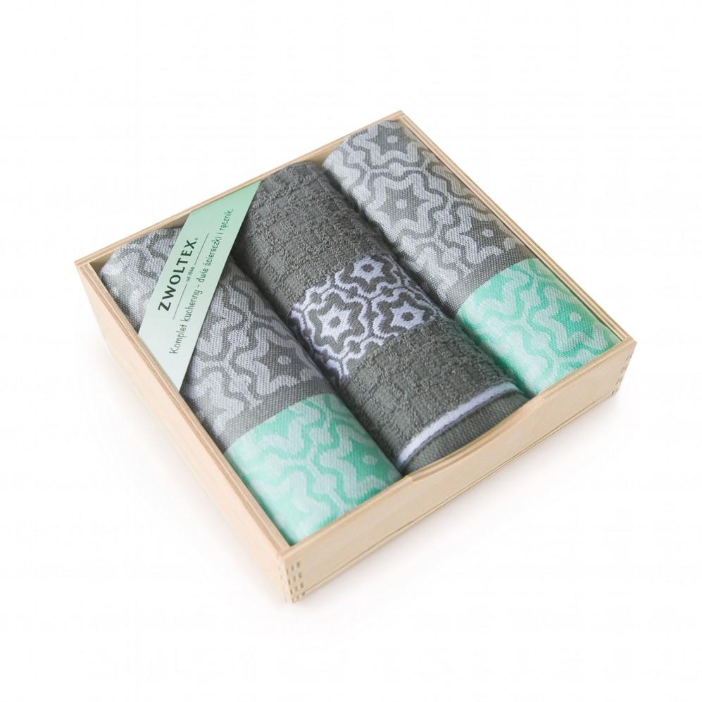 Komplet kuchenny w pudełku drewnianym Marsala Miętowy