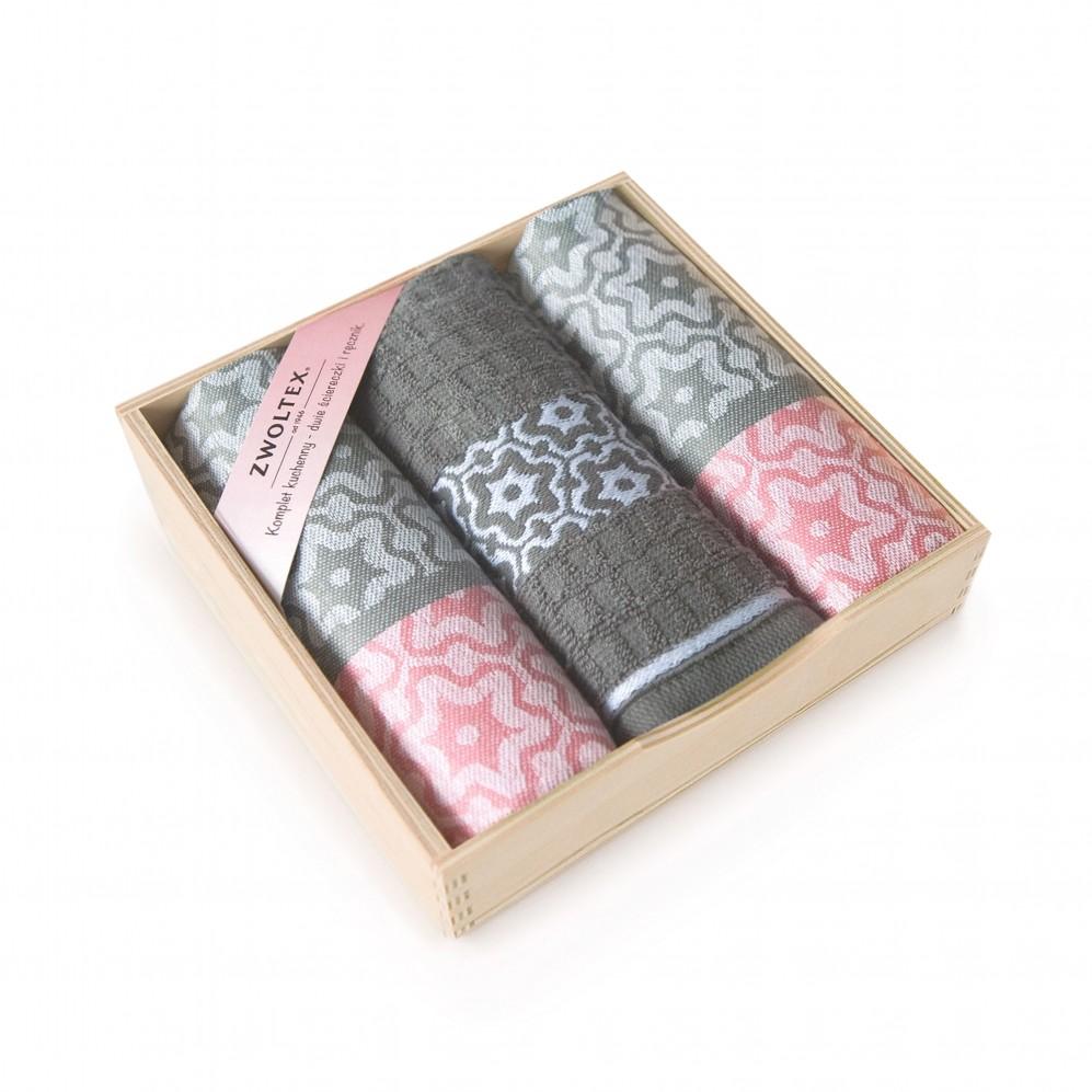 Komplet kuchenny w pudełku drewnianym Marsala Różowy