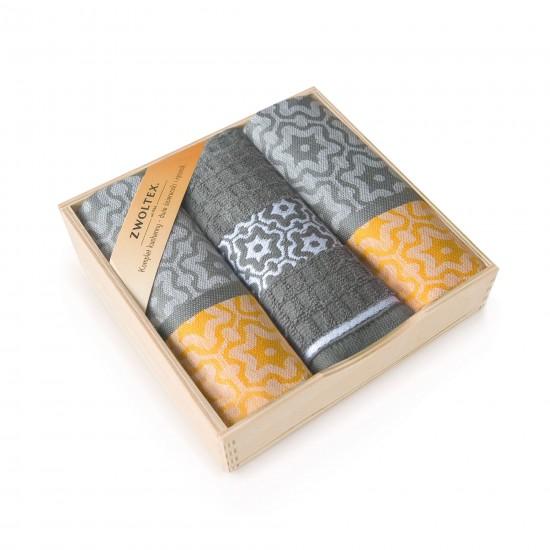 Komplet kuchenny w pudełku drewnianym Marsala Żółty
