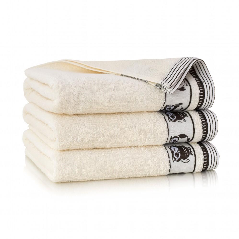Ręcznik bawełniany beżowy Puszczyk Ecru