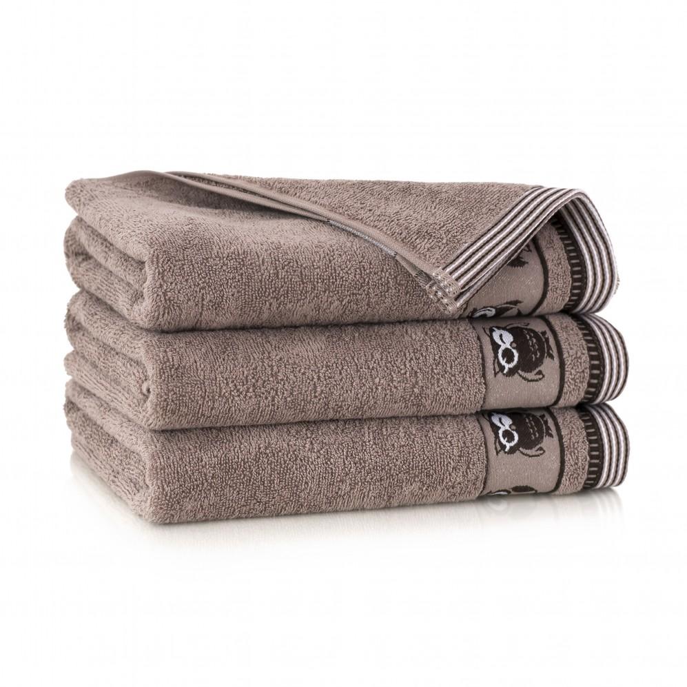 Ręcznik bawełniany brązowy Puszczyk Cynamonowy