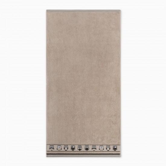 Ręcznik bawełniany brązowy Puszczyk Nugat