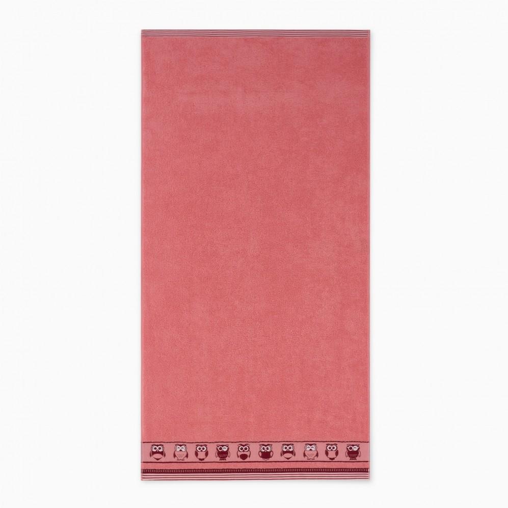 Ręcznik bawełniany różowy Puszczyk Róż łososiowy