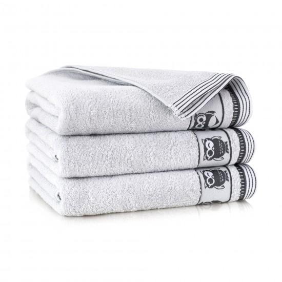 Ręcznik bawełniany szary Puszczyk Stalowy