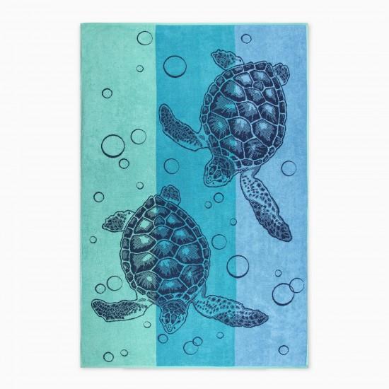 Ręcznik plażowy Żółwie Seledyn/Turkus