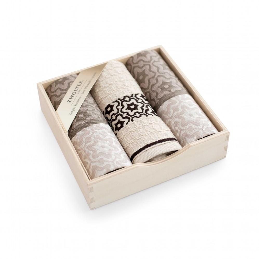 Komplet kuchenny w pudełku drewnianym Marsala Beżowy