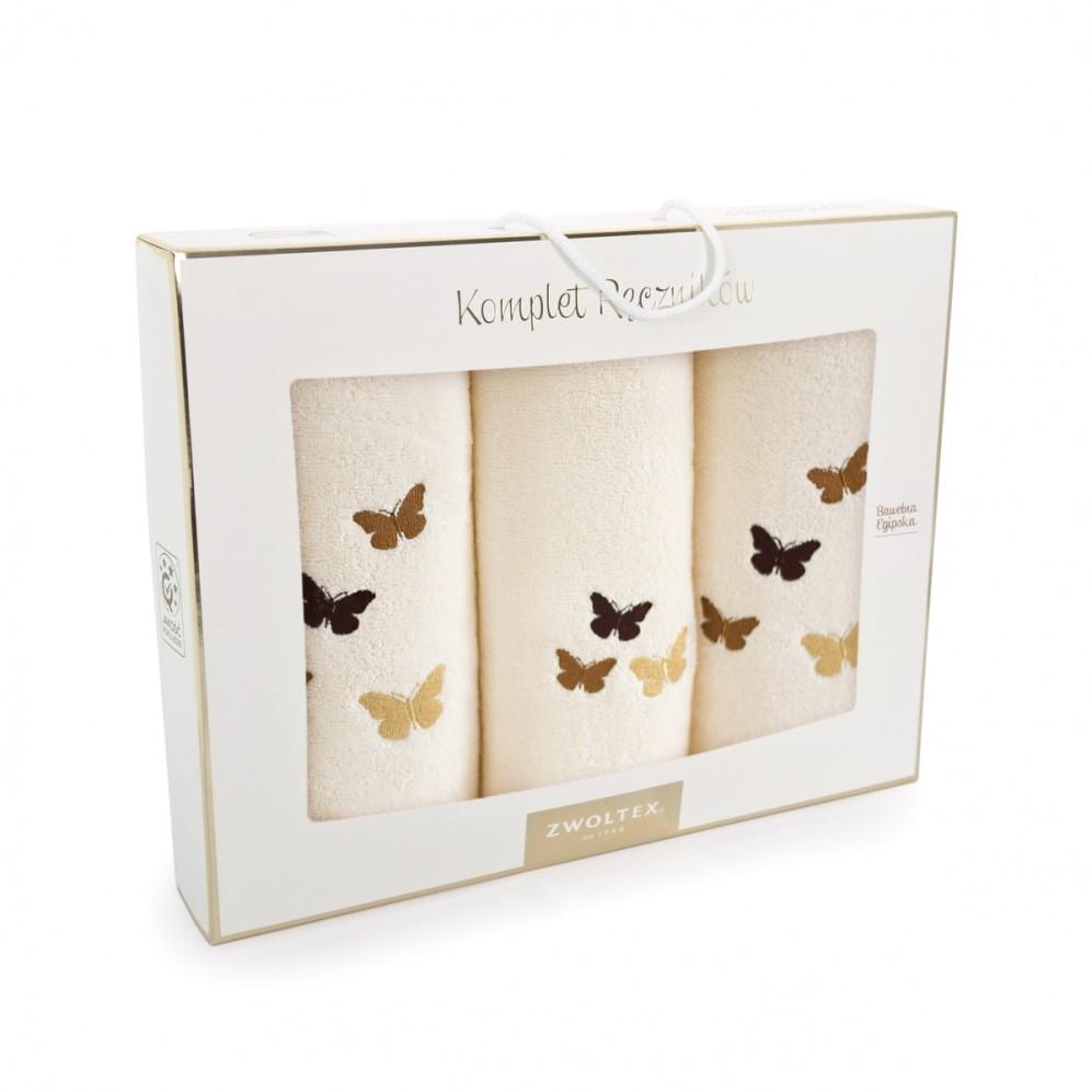 Komplet ręczników bawełnianych Motyle Ecru