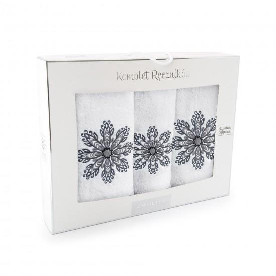 Komplet ręczników bawełnianych Rozeta Biały