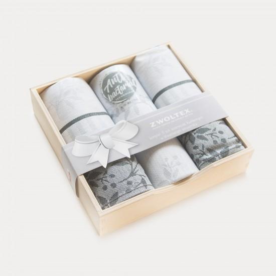 Komplet kuchenny w pudełku drewnianym Jarzębina Szary