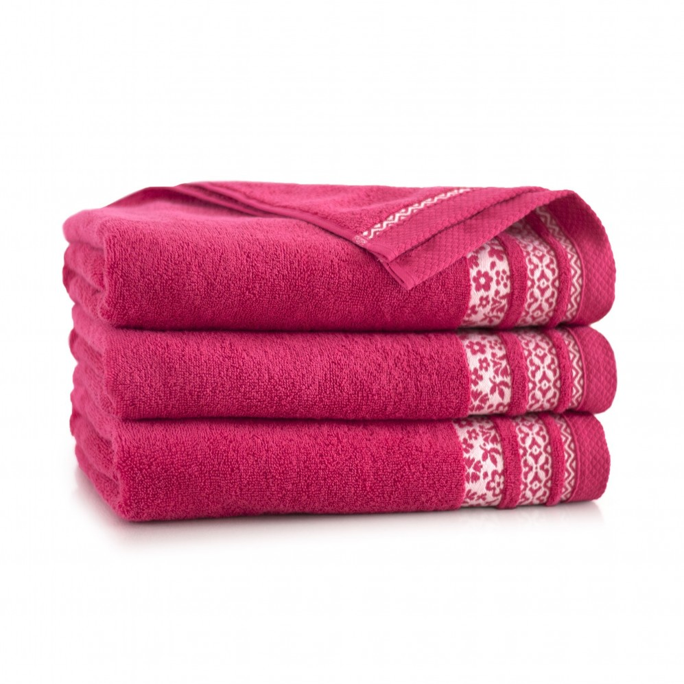 Ręcznik bawełniany Garden Malinowy