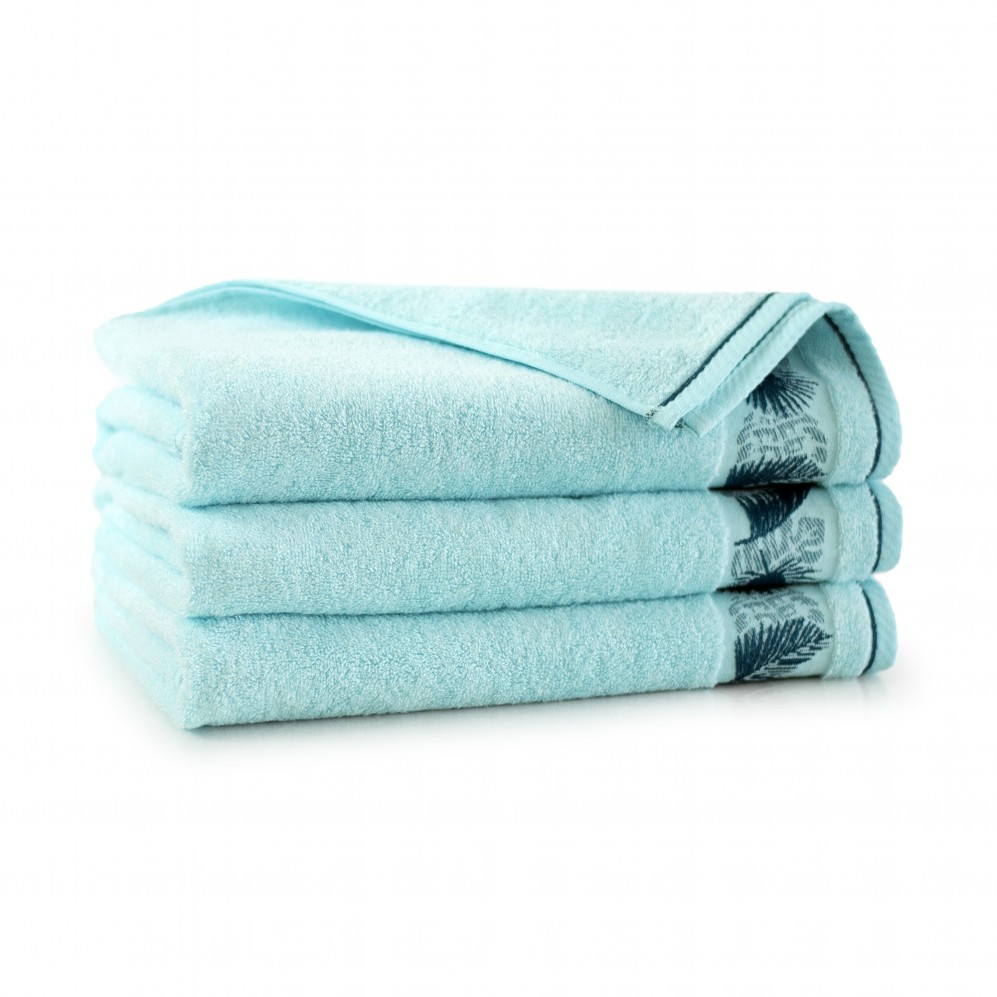 Ręcznik bambusowy frotte Monstera Turkus jasny