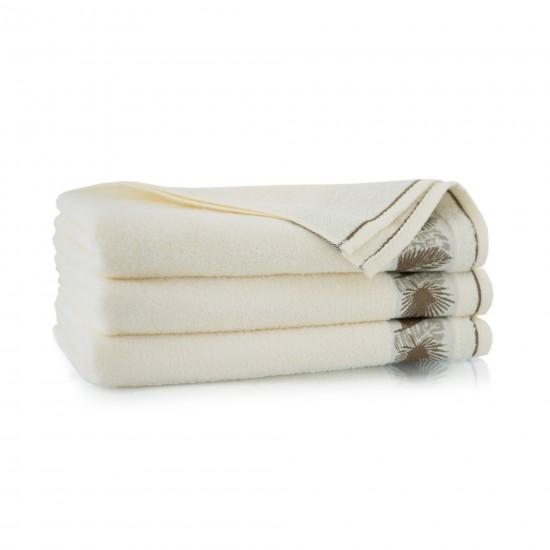 Ręcznik bambusowy frotte Monstera Ecru