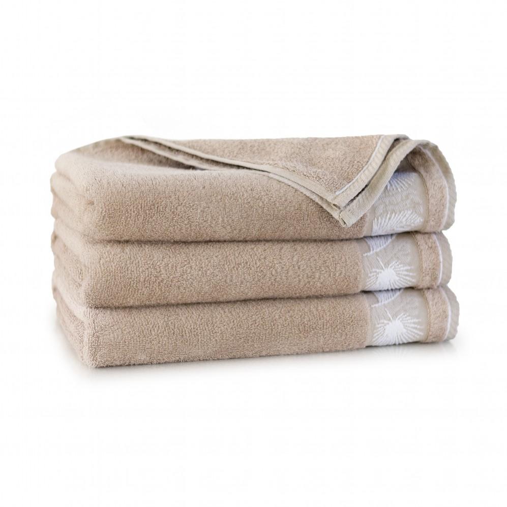 Ręcznik bambusowy frotte beżowy Monstera Sand