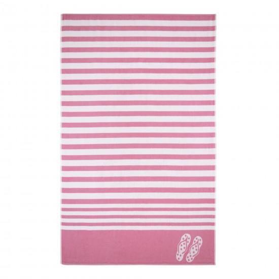 Ręcznik plażowy Tina Biało-różowy
