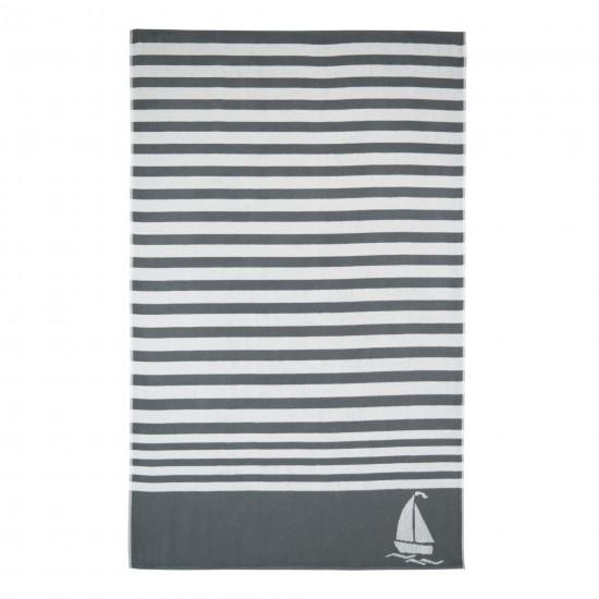 Ręcznik plażowy Delta Biało-szary
