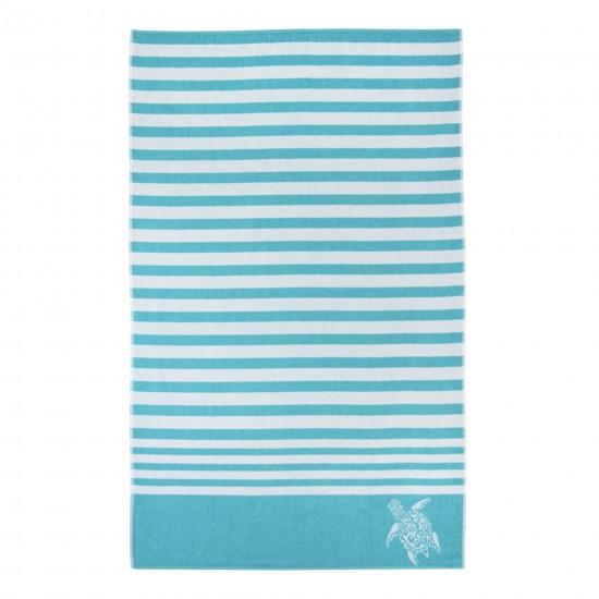 Ręcznik plażowy Drago Biało-turkusowy