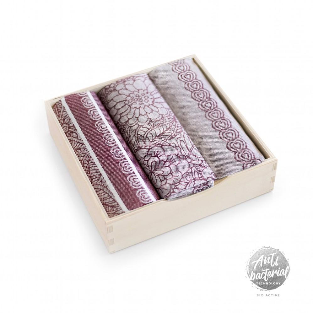 Komple t kuchenny w pudełku drewnianym Kaskada Bordowy