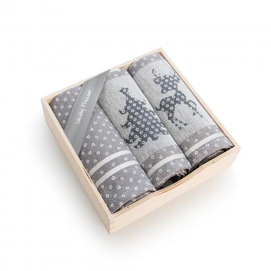 Komplet kuchenny w pudełku drewnianym Renifer Szary