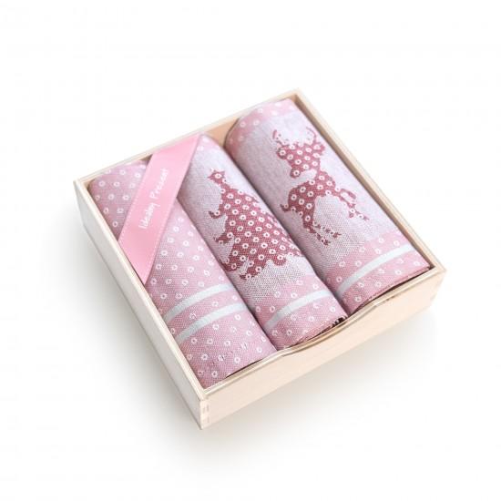 Komplet kuchenny w pudełku drewnianym RENIFER Różowy