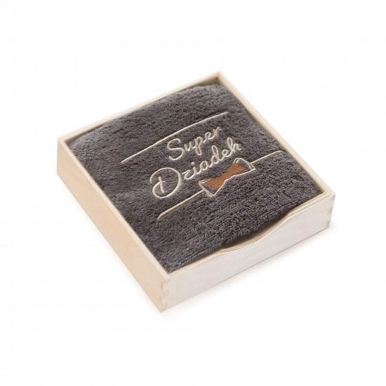 ręcznik w pudełku drewnianym Super Dziadek Taupe