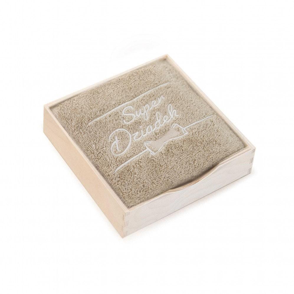 ręcznik w pudełku drewnianym Super Dziadek Nugat