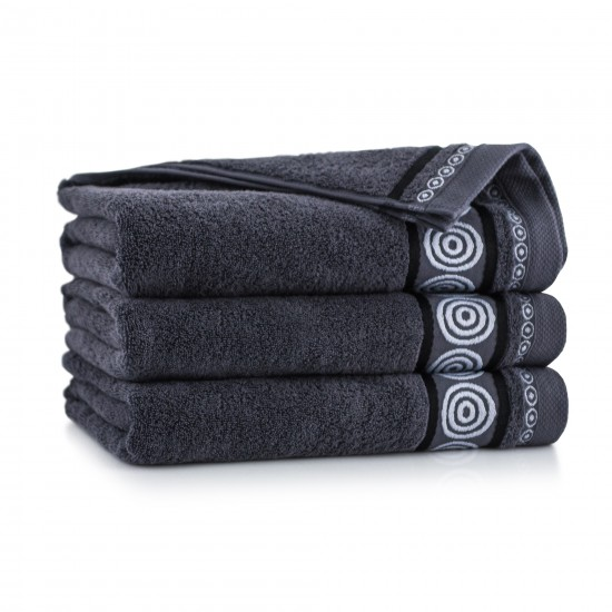 Ręcznik z bawełny egipskiej Rondo 2 Grafit
