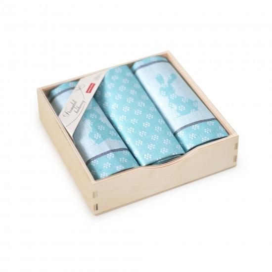 Komplet kuchenny w pudełku drewnianym Szarak Turkusowy