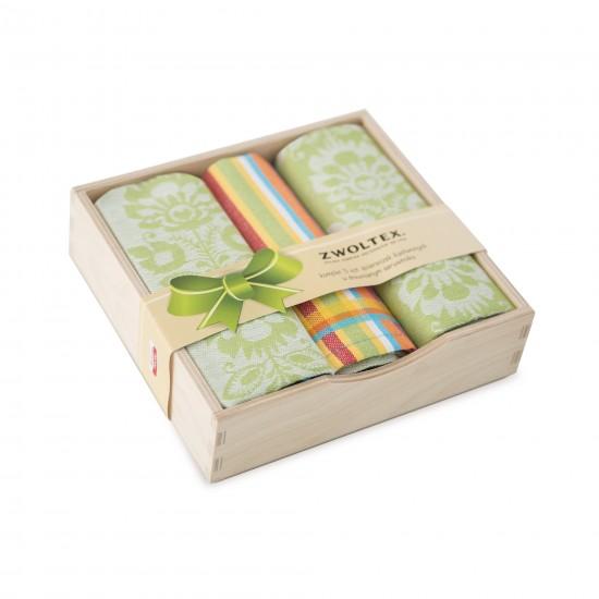 Komplet kuchenny w pudełku drewnianym Wycinanka Zielony