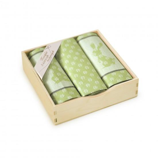 Komplet kuchenny w pudełku drewnianym Szarak Oliwkowy