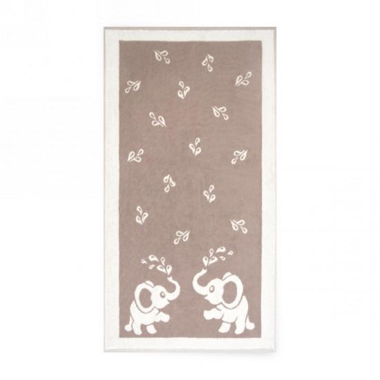 Ręcznik dla dzieci Słoniki Beżowy