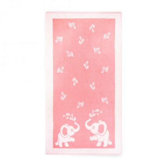 Ręcznik dla dzieci Słoniki Różowy