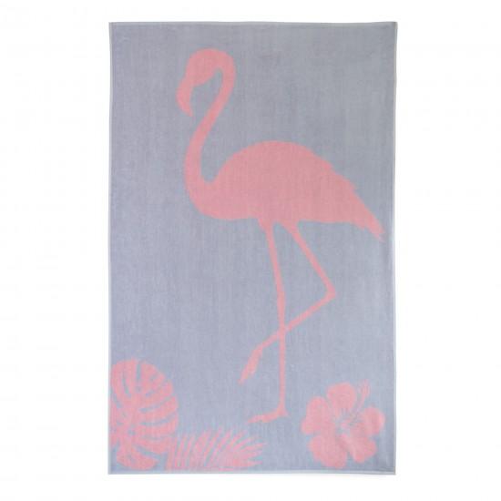 Ręcznik plażowy Flaming Szaro-łososiowy