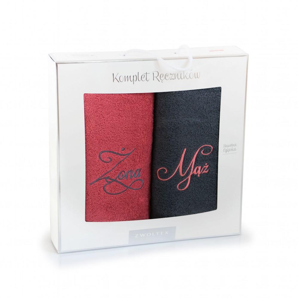 Komplet ręczników bawełnianych Mąż-Żona - Komplet ręczników na prezent