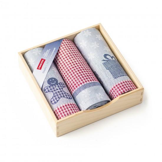 Komplet kuchenny w drewnianym pudełku Ciastek Srebrny
