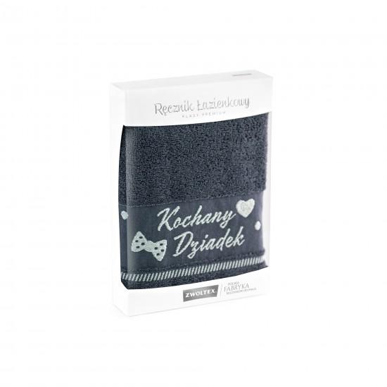 Ręcznik z haftem w opakowaniu Kochany Dziadek grafit