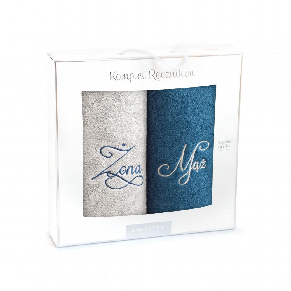 Komplet ręczników bawełnianych Mąż-Żona