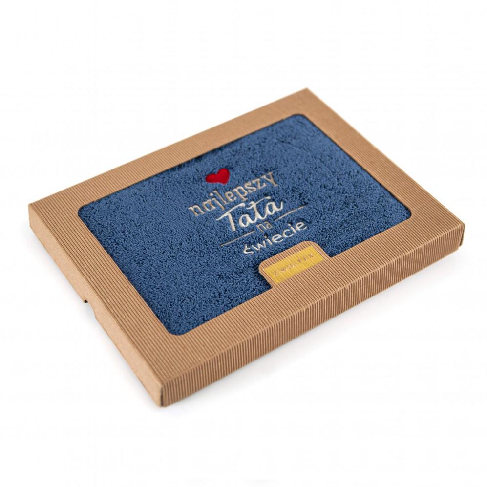Ręcznik z haftem w opakowaniu DLA TATY indygo
