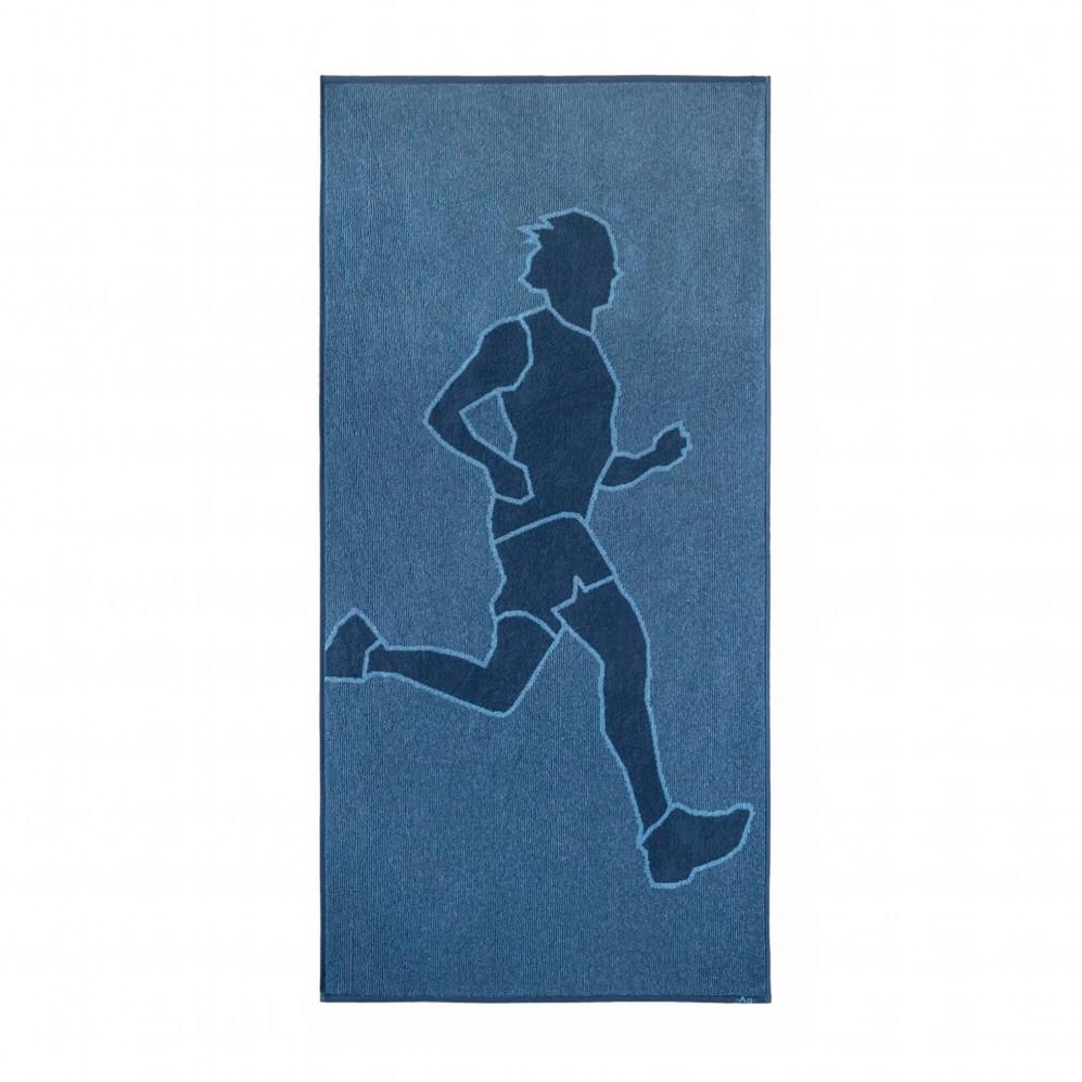 Ręcznik sportowy niebieski Bieg 2 AG - Ręcznik na siłownię niebieski