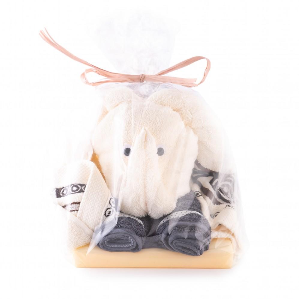 Upominki tekstylne SŁOŃ taupe/kremowy - Tort z ręczników