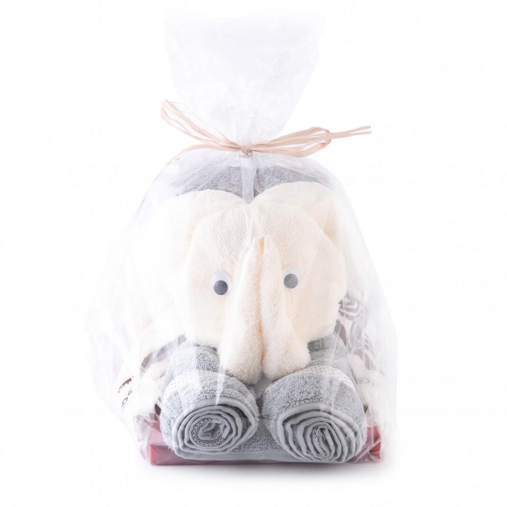 Upominki tekstylne SŁOŃ taupe/kremowy - Prezent z ręczników